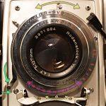 aperture ring: yellow; speeds: purple; shutter release: green