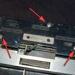 finder screws; remove finder pin: blue arrow